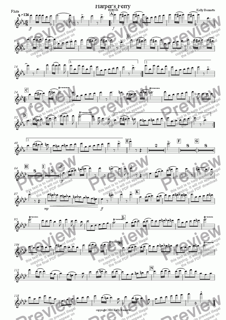page one of the flute part from Harper's Ferry march