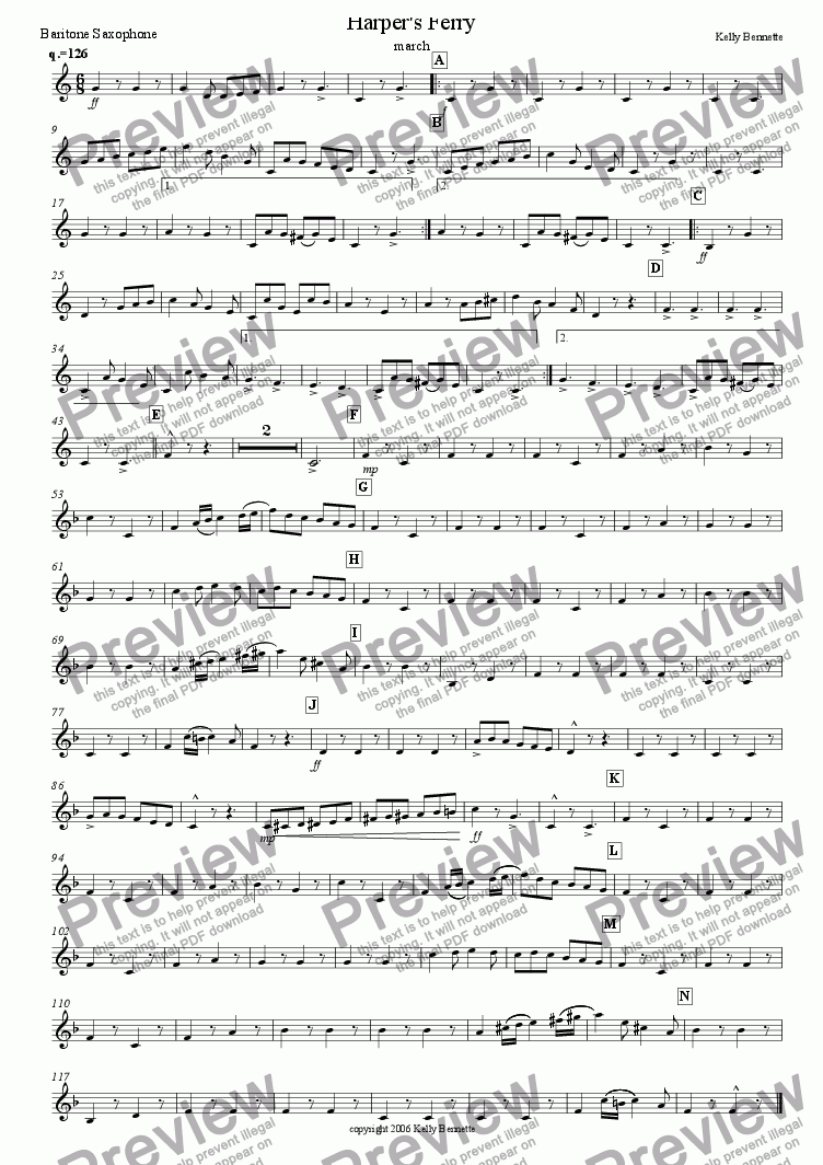 page one of the bari sax part from Harper's Ferry march