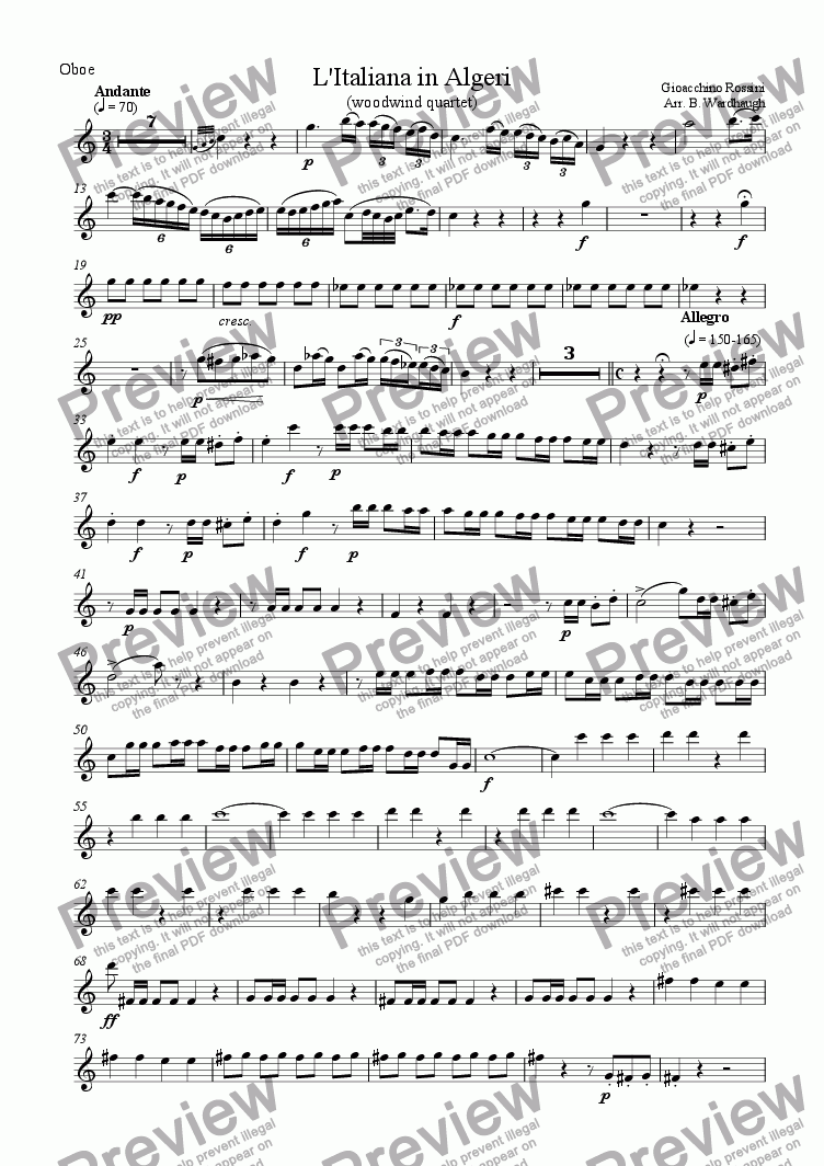 page one of the Oboe part from Overture: L'Italiana in Algeri