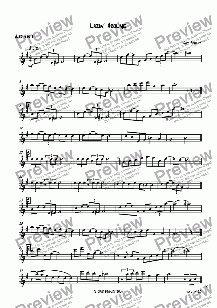 page one of the Alto Sax 1 part from Lazin' Around