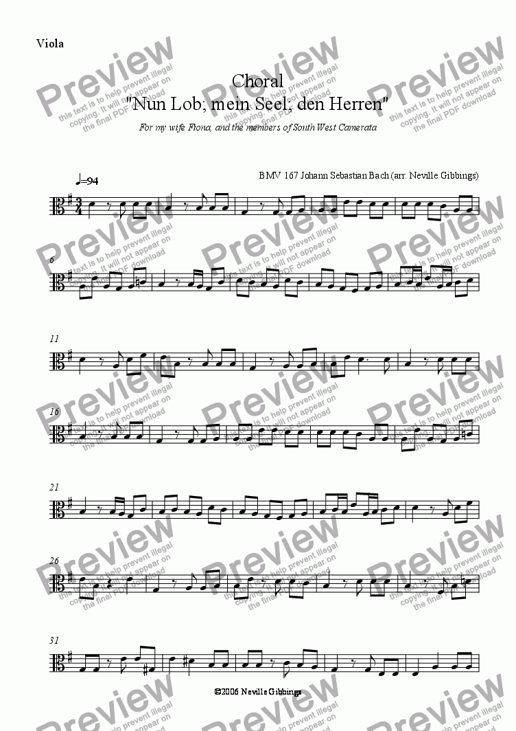 page one of the Viola part from Chorale from BMV 167