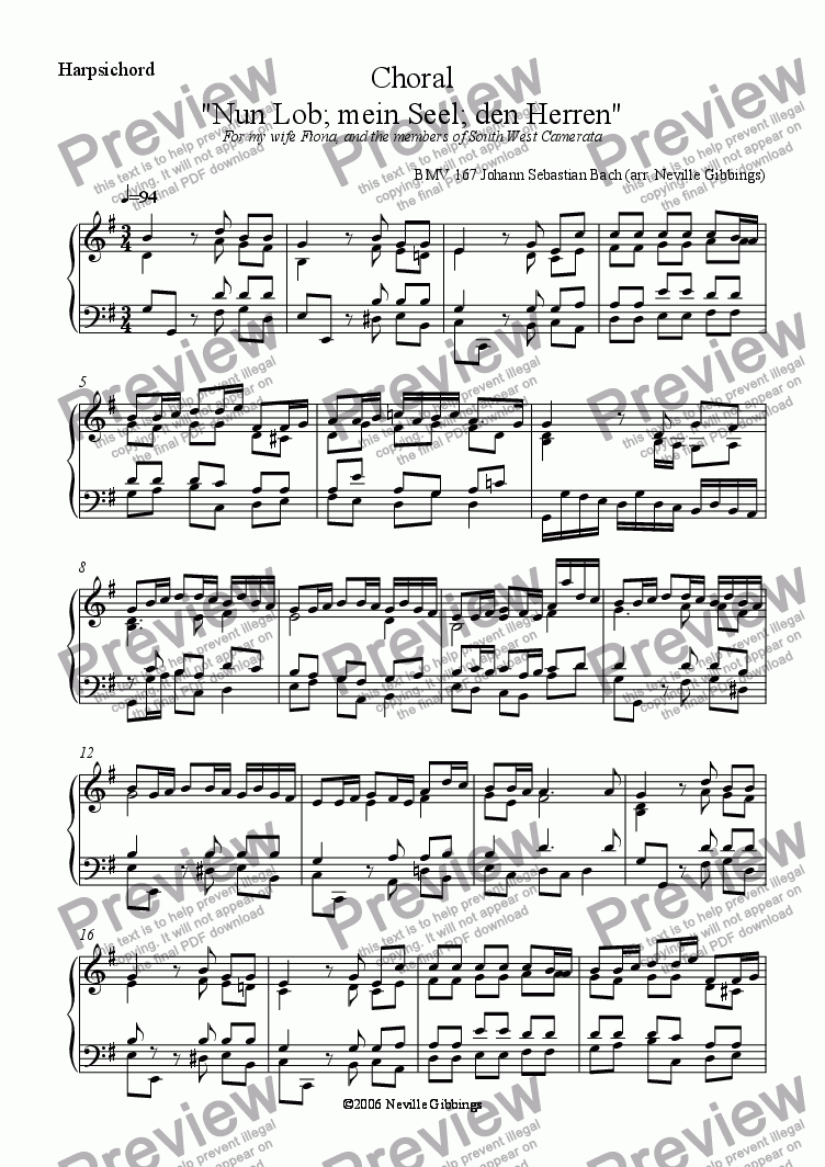 page one of the Harpsichord part from Chorale from BMV 167