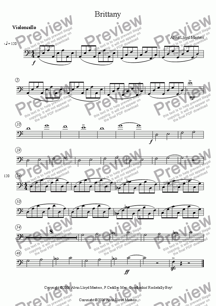 page one of the Cello part from Brittany