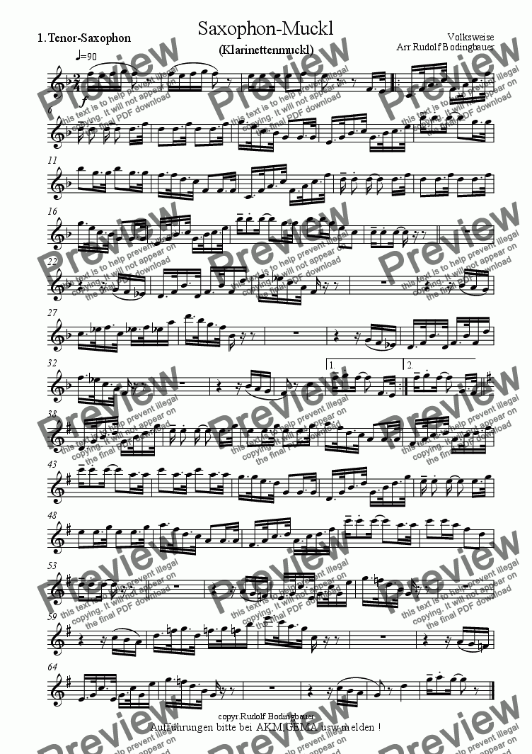 page one of the 1. Tenor-Saxophon part from Saxophon-Muckl (Klarinetten-Muckl) Big Band
