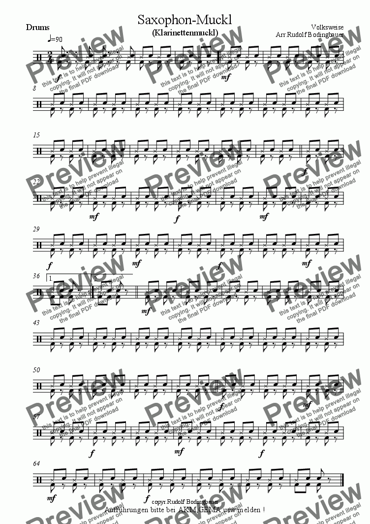 page one of the Drums part from Saxophon-Muckl (Klarinetten-Muckl) Big Band
