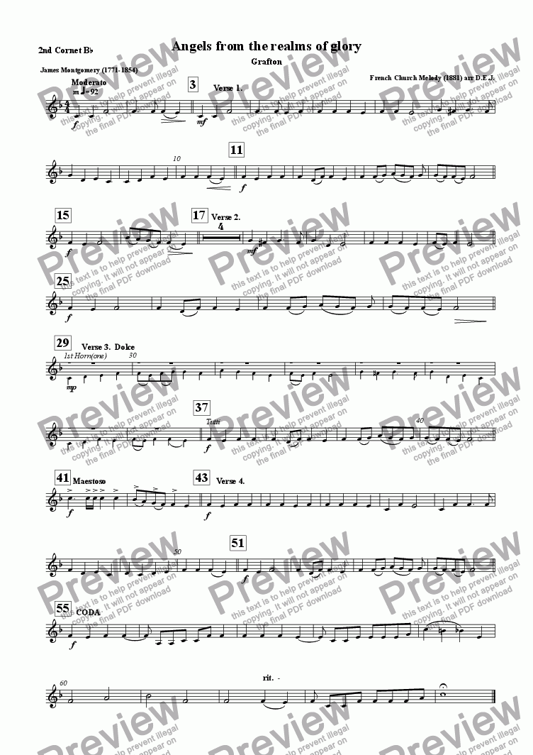 page one of the 2nd. Cornet  Bb part from Angels from the realms of glory