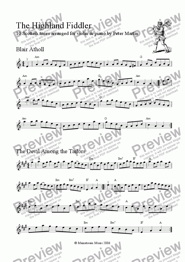 page one of the Violin part from The Highland Fiddler
