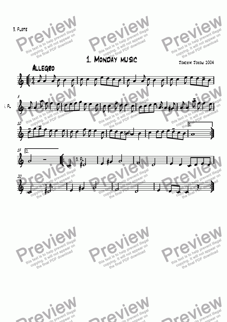 page one of the 3. Fl part from School Music 01 (Monday Music)