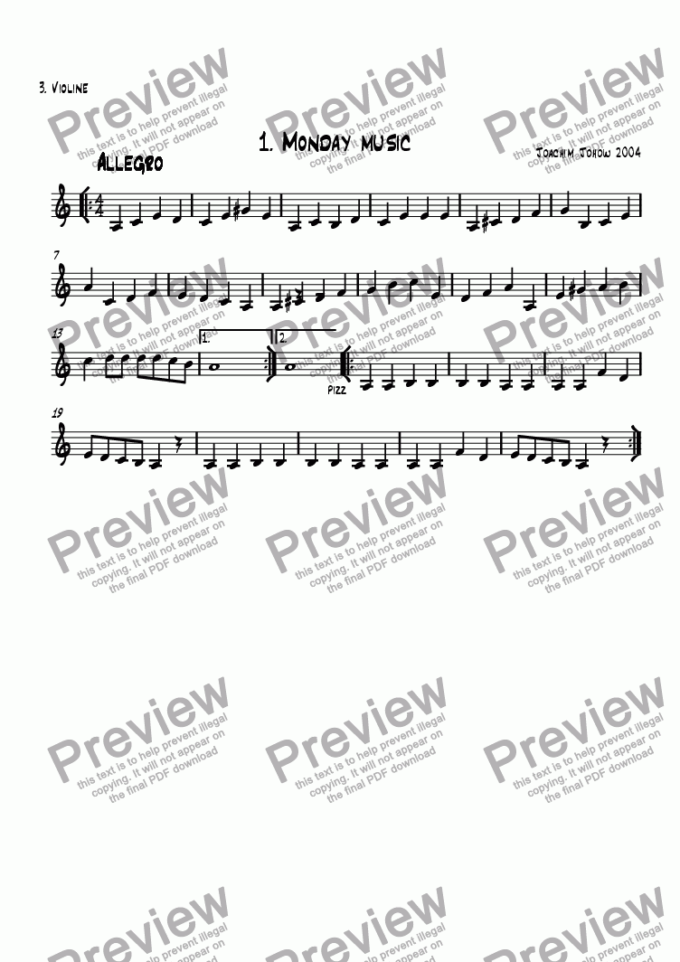 page one of the 3. Vl part from School Music 01 (Monday Music)