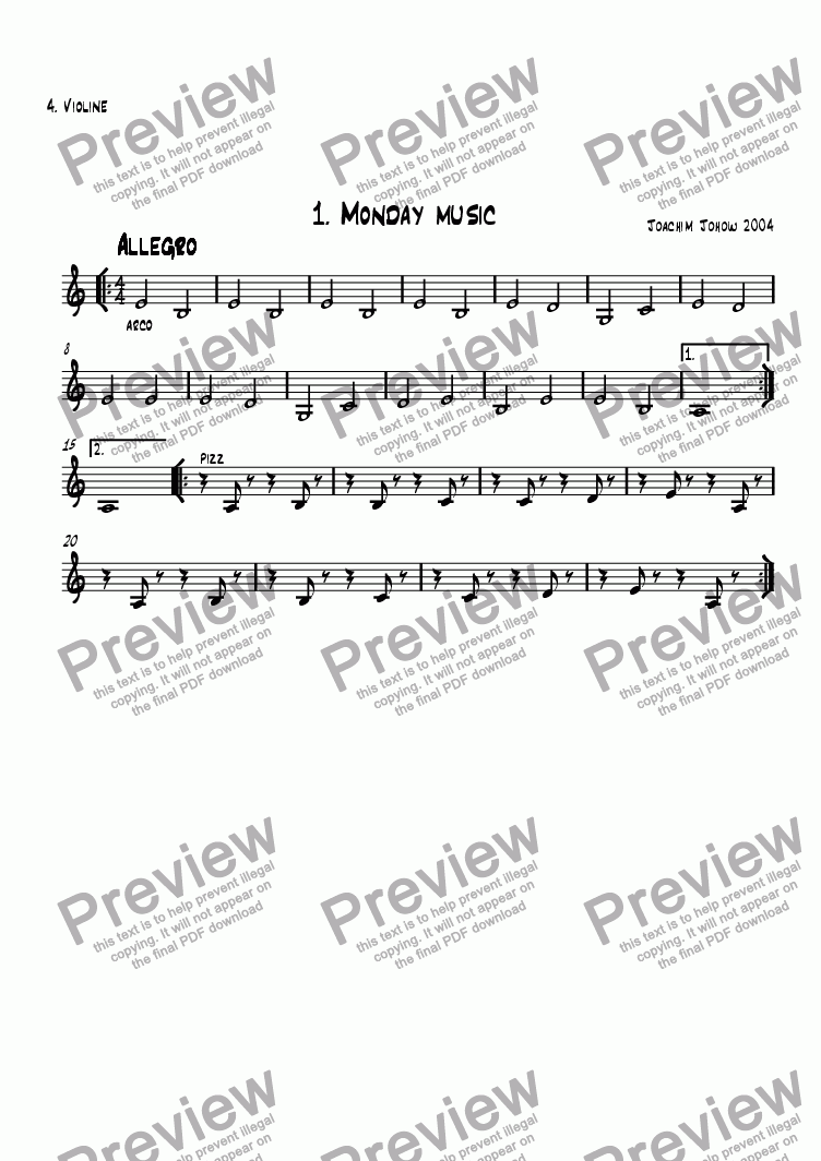 page one of the 4. Vl part from School Music 01 (Monday Music)