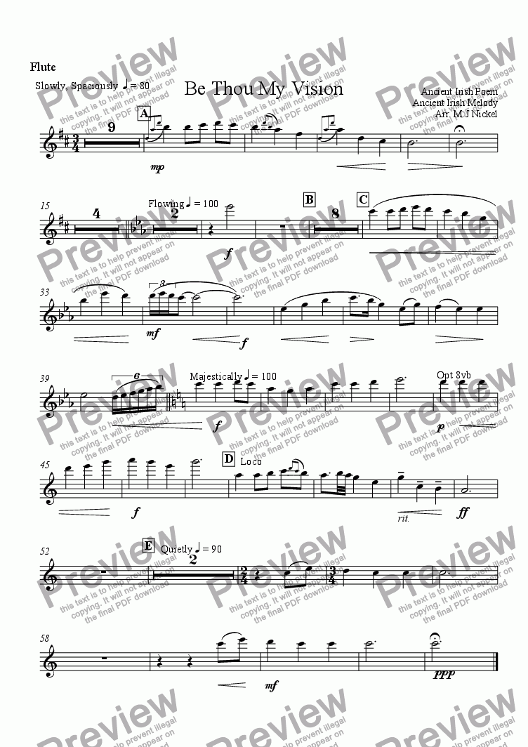 page one of the Flute part from Be Thou My Vision