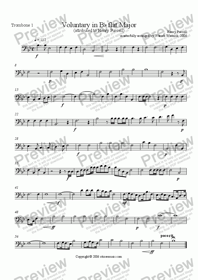 page one of the Purcell Voluntary Trombone 1 part from Voluntary in B-flat Major for Brass Ensemble