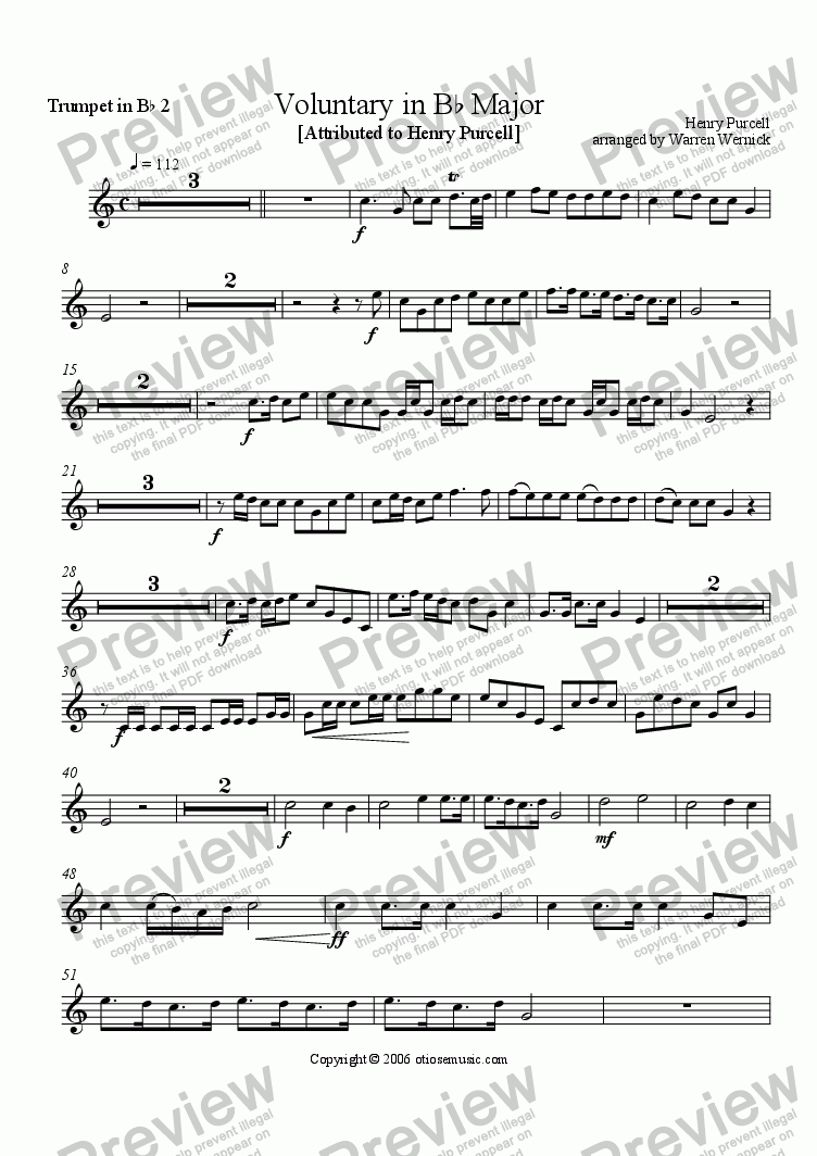 page one of the Purcell Voluntary Trumpet 2 part from Voluntary in B-flat Major for Brass Ensemble