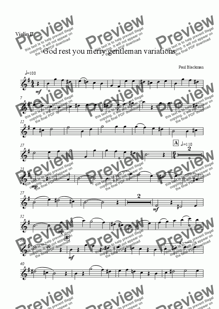 page one of the violin 2 part from God rest you merry gentleman for string quartet