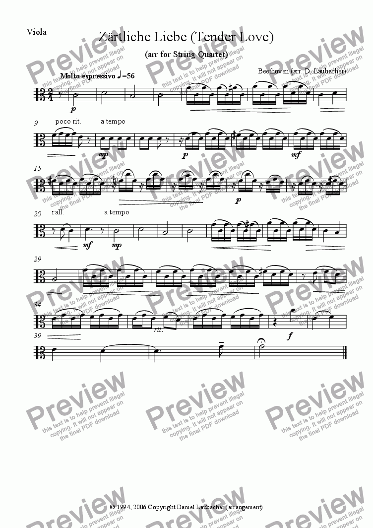 page one of the Viola part from Tender Love (Zaertliche Liebe) by Beethoven, arr. for String Quartet