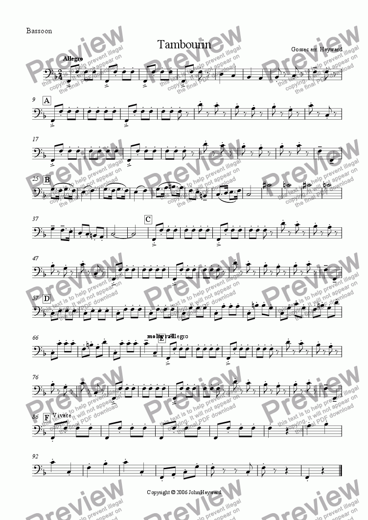 page one of the Bassoon part from Tambourin