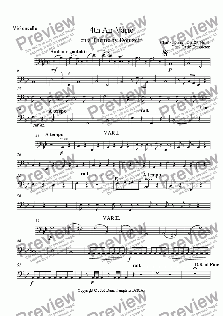 page one of the Violoncello part from Dancla- Air Varie, Op. 89, #4