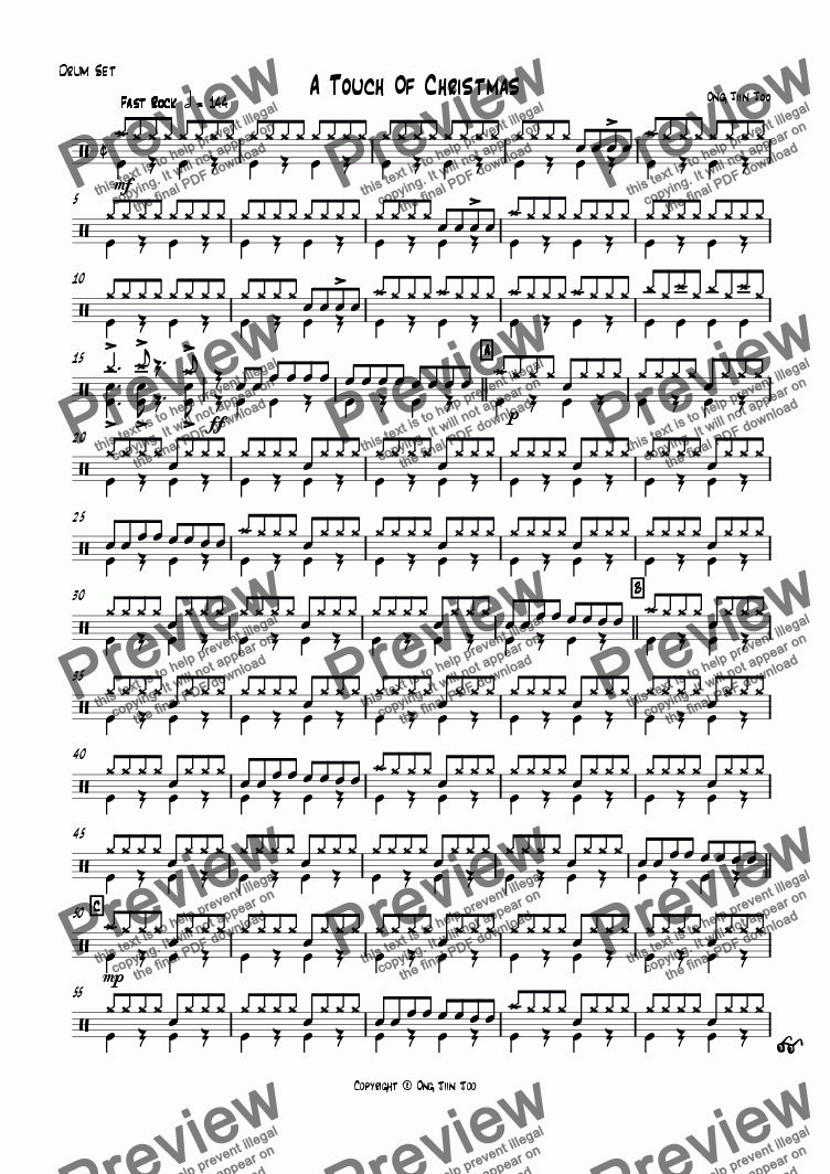 page one of the Drum Set part from A Touch of Christmas