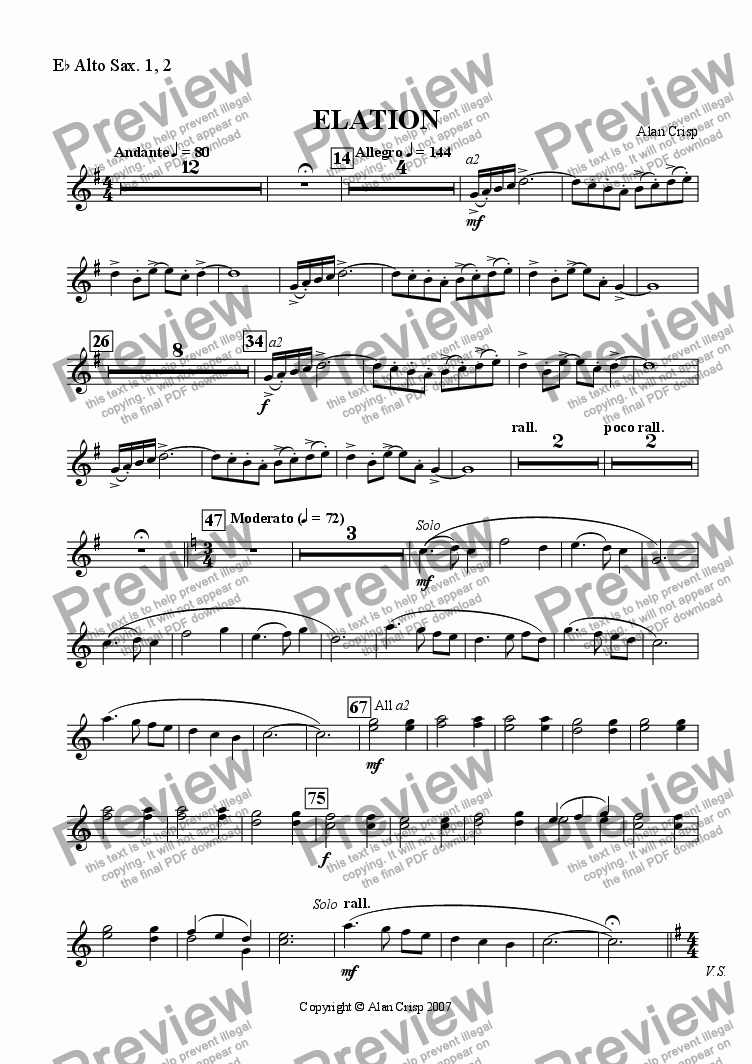 page one of the Eb Alto Sax. 1, 2 part from Elation