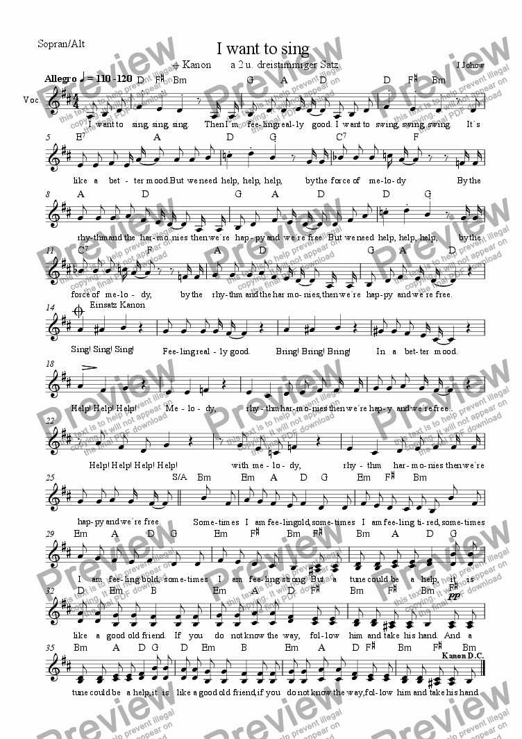 page one of the Sopr Alt part from Choir 03  (I want to sing)
