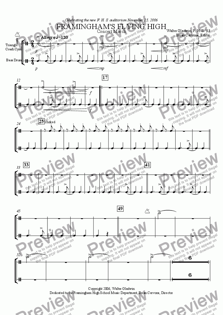 page one of the Cymbols and Bass Drum part from Framingham's Flying High: Concert March