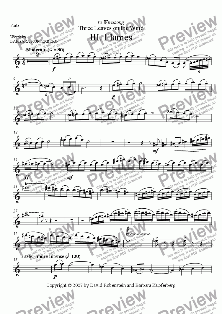 page one of the Flute part from Flames (for soprano, flute, clarinet, piano)