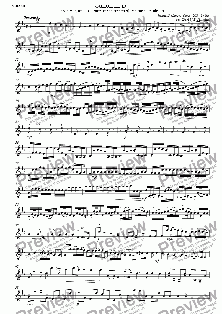 page one of the Violin I part from Canon in D