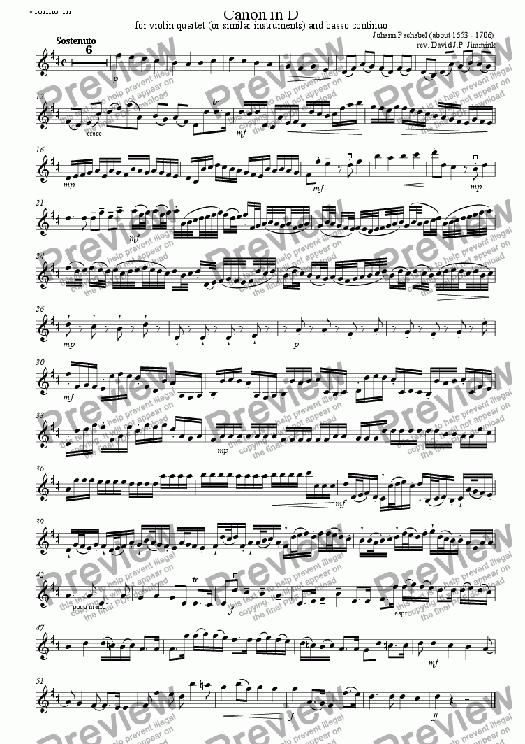 page one of the Violin III part from Canon in D