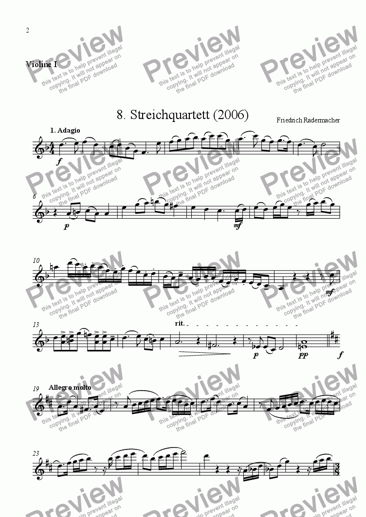 page one of the Violine 1 part from 8. Stringquartet