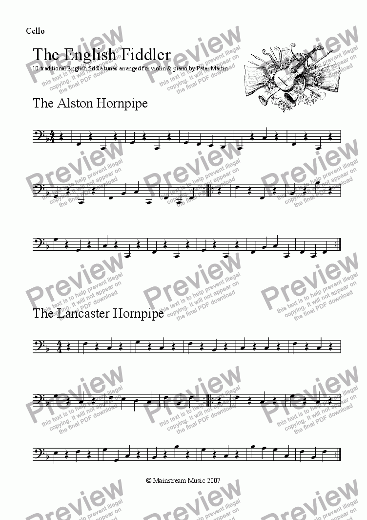 page one of the Cello/Bass part from The English Fiddler