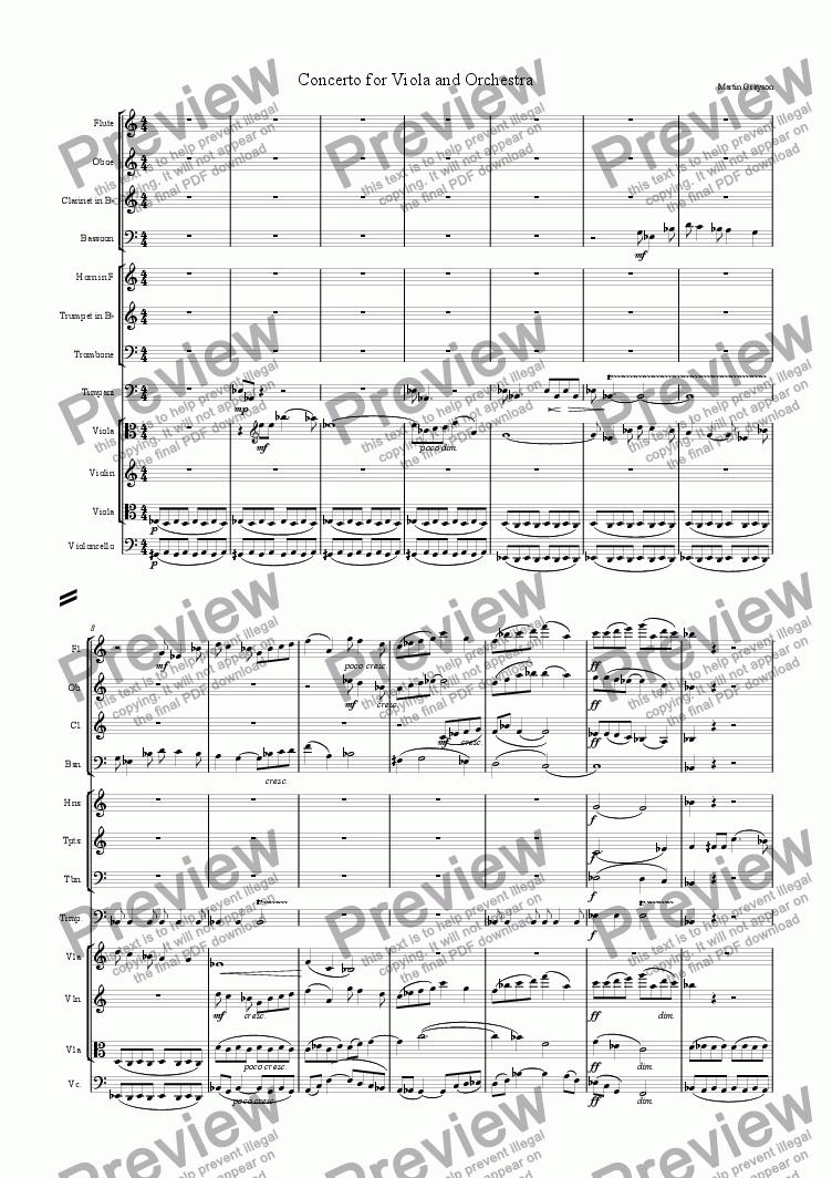 page one of the Flute part from Concerto for Viola and Small Orchestra, Mvt. 1