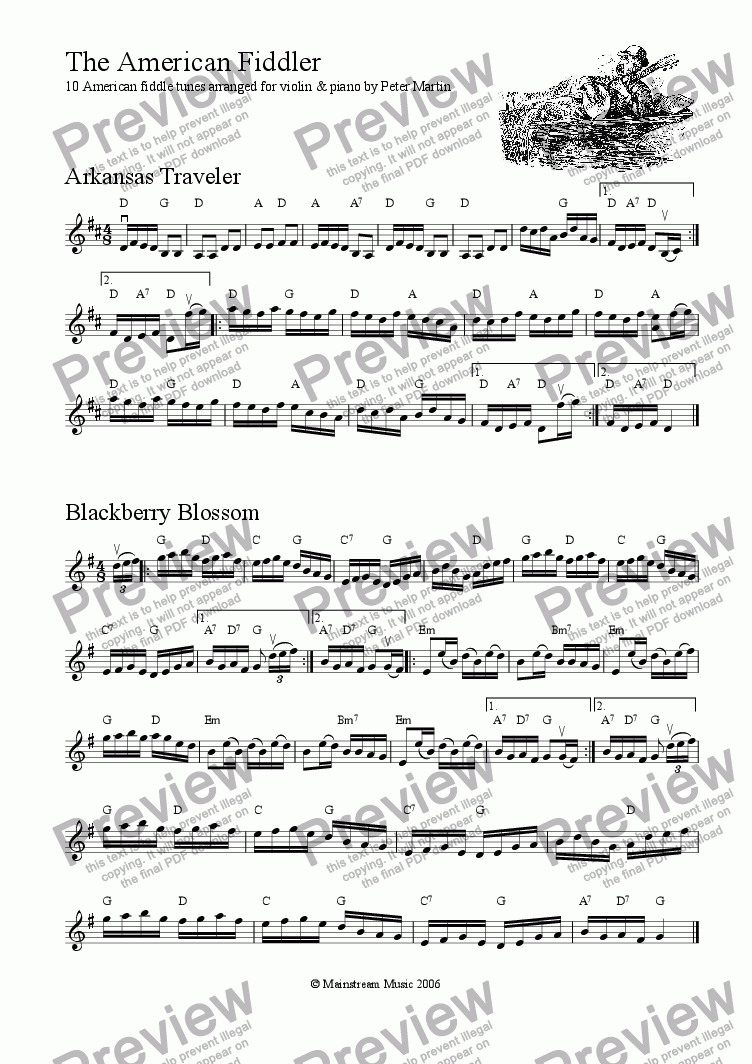page one of the Violin part from The Fiddler's Anthology