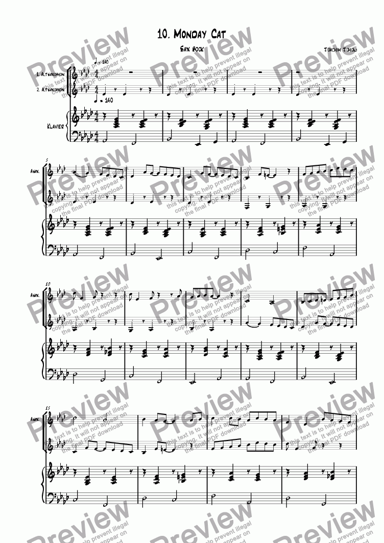 page one of the Piano 1. u. 2. Alt Sax part from Sax book 10 (Monday cat)