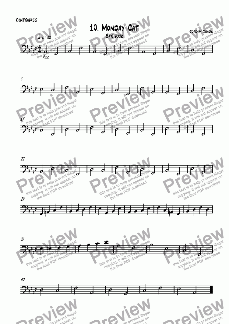 page one of the Bass part from Sax book 10 (Monday cat)