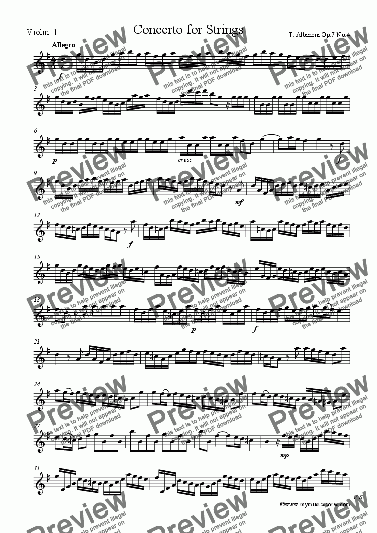 page one of the Violin 1 part from Concerto for Strings