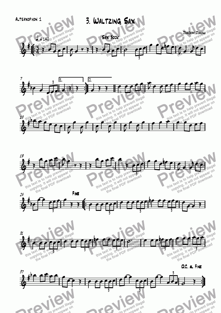 page one of the 1. Alt Sax part from Sax book 03 (Waltzing Sax)