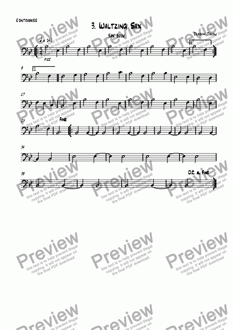 page one of the Bass part from Sax book 03 (Waltzing Sax)