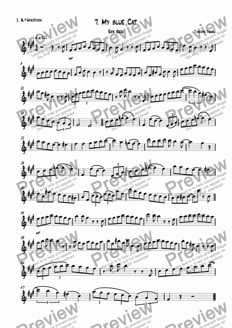 page one of the 1. Alt Sax part from Sax book 07 (My blue cat)