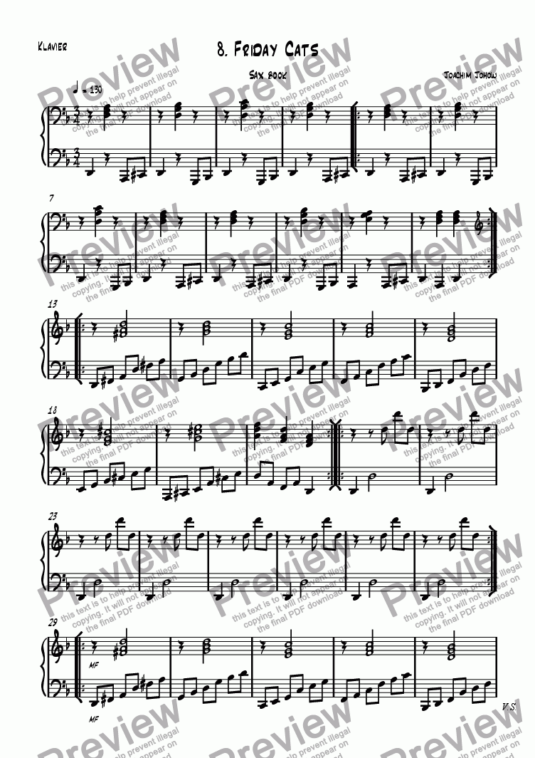 page one of the Piano part from Sax book 08 (Friday cats)