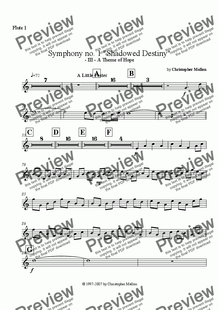 "page one of the Flute 1 part from ""Shadowed Destiny"" - Symphony no. 1 - III"