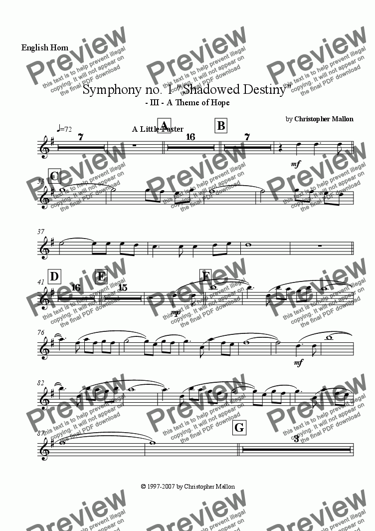 "page one of the English Horn part from ""Shadowed Destiny"" - Symphony no. 1 - III"
