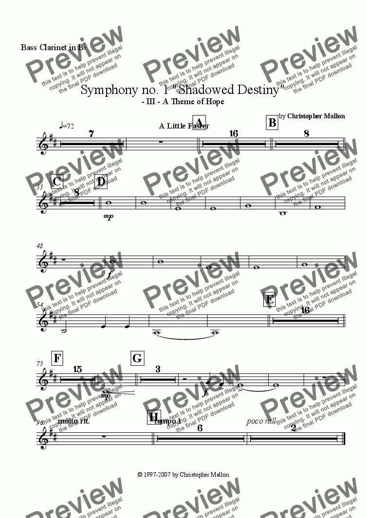 "page one of the Bass Clarinet part from ""Shadowed Destiny"" - Symphony no. 1 - III"