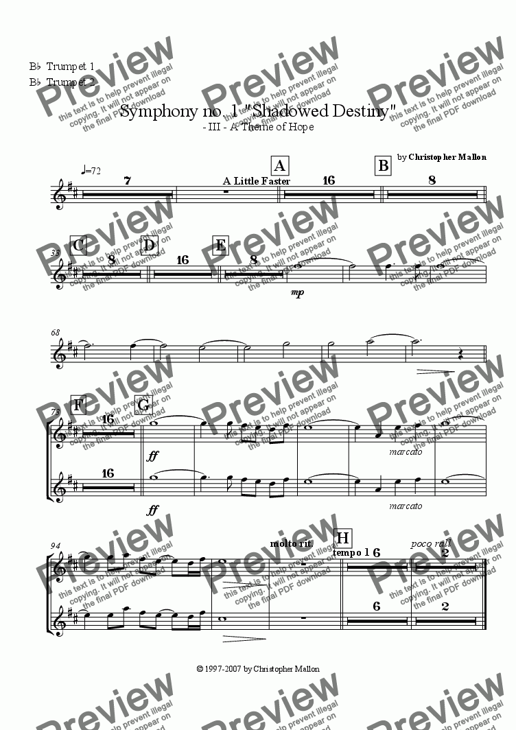 "page one of the Trumpets 1 & 2 part from ""Shadowed Destiny"" - Symphony no. 1 - III"