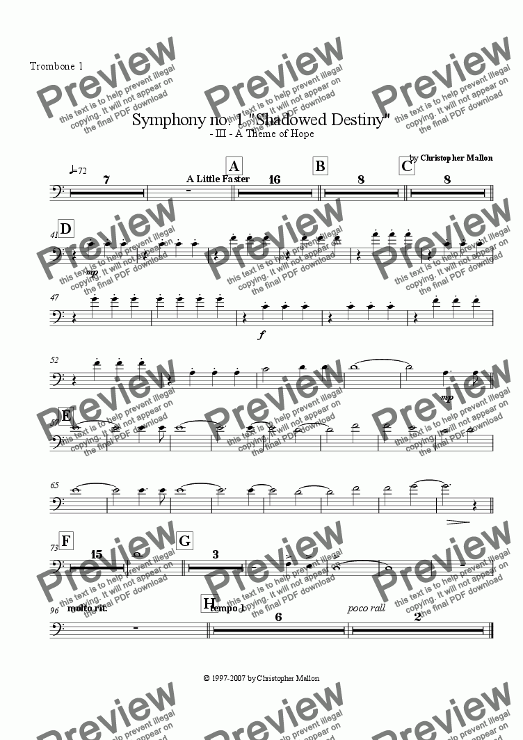 "page one of the Trombone 1 part from ""Shadowed Destiny"" - Symphony no. 1 - III"