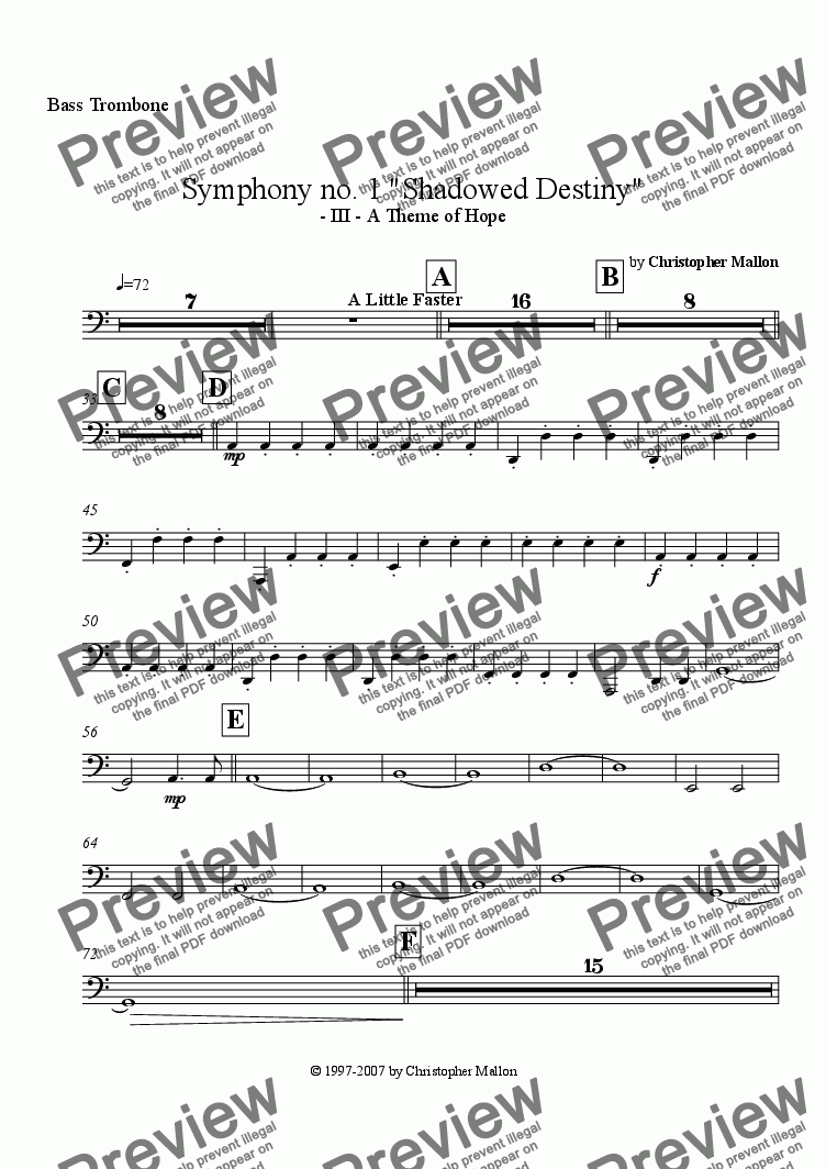 "page one of the Bass Trombone part from ""Shadowed Destiny"" - Symphony no. 1 - III"