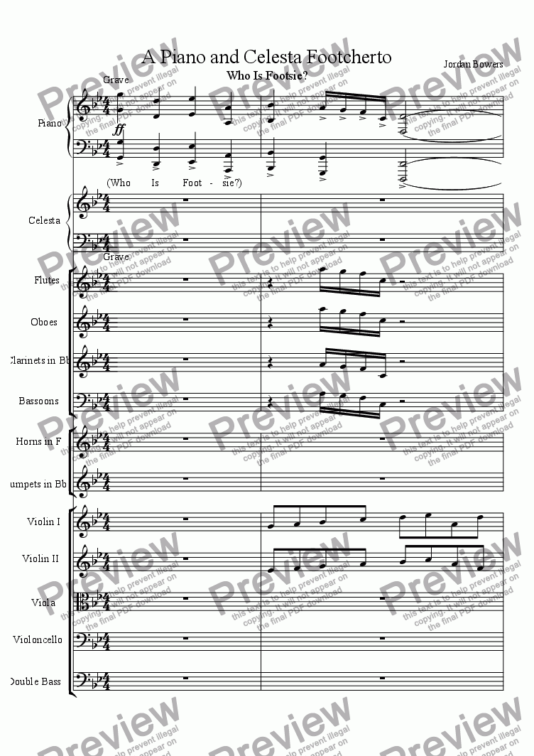 page one of the Violin II part from A Piano and Celesta Footcherto
