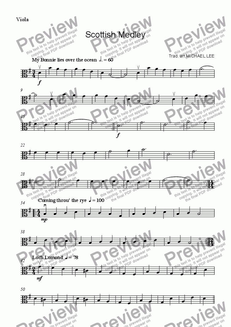 page one of the viola part from Scottish Medley For Strings