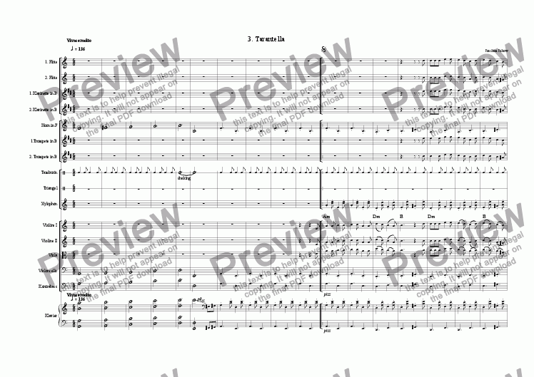 page one of the Score small part from Tarantella 03 (School orchestra)
