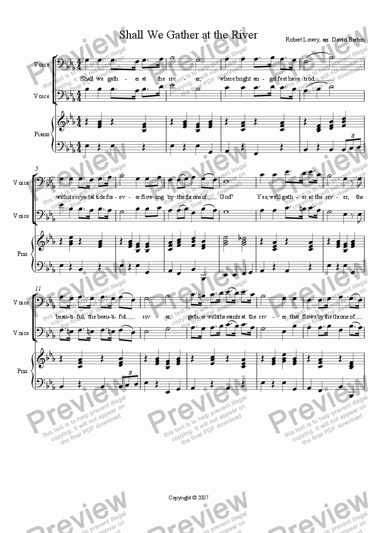 "page one of the Piano part from ""Shall We Gather at the River"" for male voices, trumpet, trombone and piano"