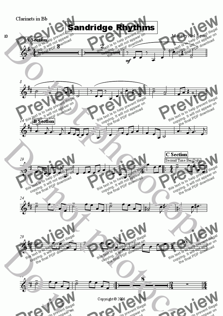 page one of the Clarinet part from Sandridge Rhythms